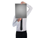Man cover face with picture Royalty Free Stock Image