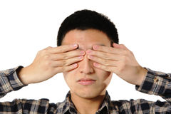 Man cover his eye Stock Image