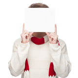 Man cover his face with sign Royalty Free Stock Images