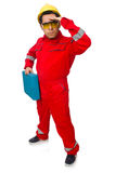 The man in coveralls isolated on white Stock Photography