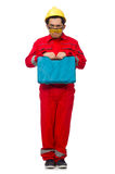 The man in coveralls isolated on white Stock Photos