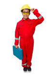 The man in coveralls isolated on white Royalty Free Stock Images