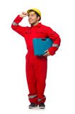 Man in coveralls isolated on white Stock Image