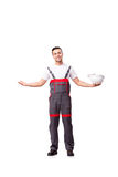 The man in coveralls isolated on white. Man in coveralls isolated on white stock image