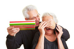 Man covering eyes of his wife Stock Images