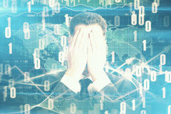 Man covering face on digital backdrop. Businessman covering face on abstract digital backdrop Stock Image