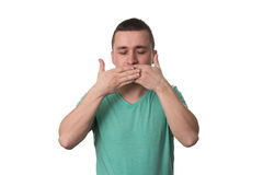 Man Covering With Hands His Mouth Stock Images