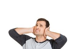 Man covering his ears Royalty Free Stock Photo