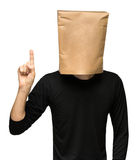 Man covering his head using a paper bag. one Royalty Free Stock Images