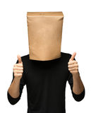 Man covering his head using a paper bag. Stock Photography