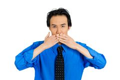 Man covering mouth Stock Photos