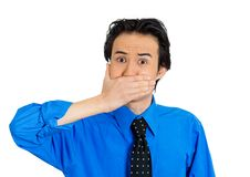 Man covering mouth Stock Images
