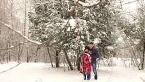 Man covers his girlfriend with a blanket in winter. A man covers his girl with a blanket in the winter snow-covered forest. A romantic couple is walking in the stock video
