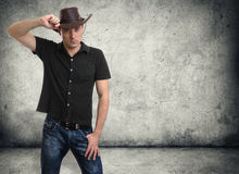 Man in a cowboy hat Stock Photo