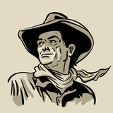 Man with cowboy hat and shirt and scarf. Western. Digital Sketch Hand Drawing Vector. Illustration. Man with cowboy hat and shirt and scarf. Western. Portrait Royalty Free Stock Photos