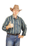 Man in a cowboy hat shows the gesture All right Royalty Free Stock Images