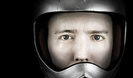 Man in crash helmet Stock Images