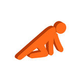 Man Crawling on Knees symbol. Flat Isometric Icon or Logo. 3D Style Pictogram for Web Design, UI, Mobile App, Infographic. Vector Illustration on white Stock Photos