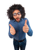 Man with crazy expression and thumb up Royalty Free Stock Photography