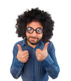 Man with crazy expression and thumb up Royalty Free Stock Photo