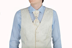For man cream white vest with jacquard pattern Royalty Free Stock Photos