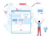 Website builder concept. A man creates his own website. It`s magic. Website builder concept. Web development. Flat vector illustration vector illustration