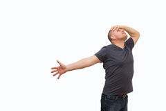The man creates an image gestures and a mimicry. Royalty Free Stock Images