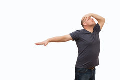 The man creates an image gestures and a mimicry. Stock Image