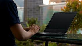 Man creates software using programming language. Closeup skilled developer creates useful software using programming language on modern notebook stock footage