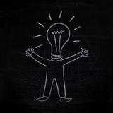 Man with creative idea (man-bulb) Stock Image