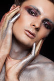 Man with creative on stage artistic make up in beauty concept Royalty Free Stock Photography