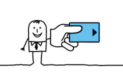Man & credit card. Vector hand-drawn characters line Stock Photo