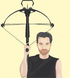 Man with crossbow. Average face man with crossbow Royalty Free Stock Photography