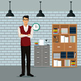 Man crossed arms workspace furniture books cabient file clock lamp roof. Vector illustration eps 10 Stock Photography