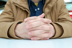 Man with crossed fingers Royalty Free Stock Photo