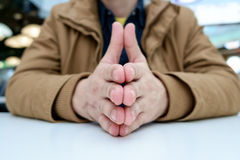Man with crossed fingers Stock Photography