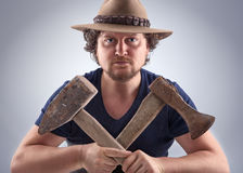 Man with crossed tools Stock Photos