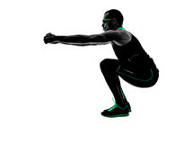 Man crossfit exercises fitness silhouette stock images