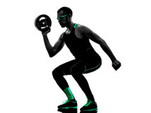 Man crossfit  weight disk exercises fitness Stock Photography