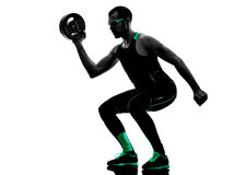 Man crossfit  weight disk exercises fitness silhouette Royalty Free Stock Photo