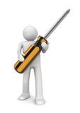 Man with crosshead screwdriver Stock Photos