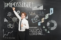 Man crossing out word impossible chalkboard Royalty Free Stock Image