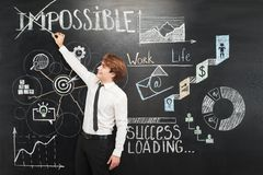Man crossing out word impossible chalkboard Royalty Free Stock Photo