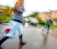 Man crossing the street at a crosswalk Royalty Free Stock Photo