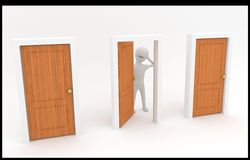 Man at the crossroads. 3d white guy standing in front of three doors and make decision Royalty Free Stock Images