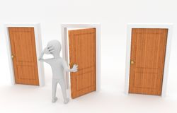 Man at the crossroads. 3d white guy standing in front of three doors and make decision Royalty Free Stock Photography