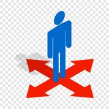 Man at crossroads isometric icon Stock Image