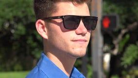 Man at Crosswalk, Urban Male, Man, City Resident stock video footage