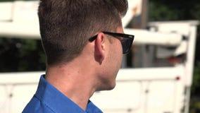 Man at Crosswalk, Urban Male, Man, City Resident stock video