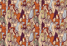 Man crowd big group color seamless pattern. Stock Images